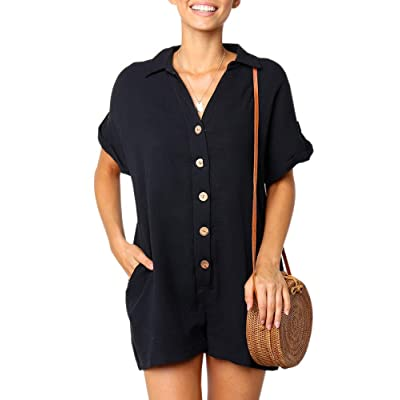 Ofenbuy Womens V Neck Jumpsuits Shorts Short Sleeve Button Oversized Summer Rompers with Pockets Black: Clothing