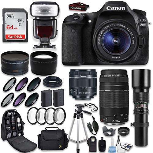 Canon EOS 80D DSLR Camera + Canon EF-S 18-55mm + Canon EF 75-300mm Lens & Telephoto 500mm f/8.0 + 0.43 Wide Angle Lens + 2.2 Telephoto Lens + Macro Filter Kit + 64GB Memory Card + Accessory Bundle For Sale