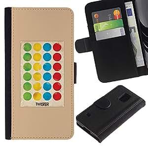 Billetera de Cuero Caso Titular de la tarjeta Carcasa Funda para Samsung Galaxy S5 V SM-G900 / Game Polka Dot Twist Kids / STRONG