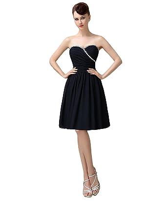 YesDress Women Sweet heart Navy Blue Chiffon Junior Short Bridesmaid Dress  (2 d4fab21f9b