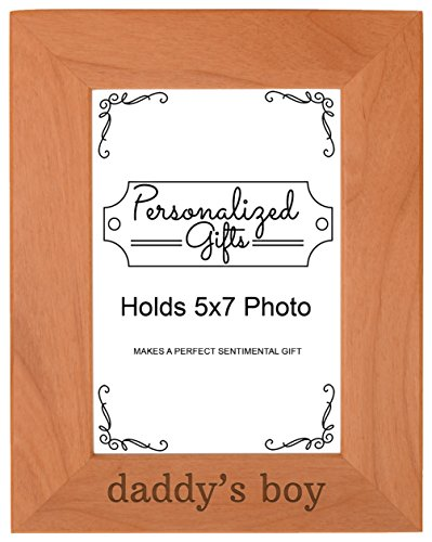 Daddy Color Frame Child (Personalized Gifts Daddy's Boy Baby Son Natural Wood Engraved 5x7 Portrait Picture Frame Wood)