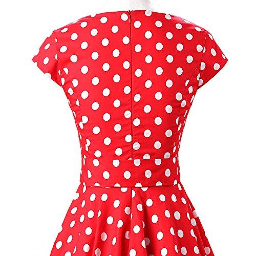 White Style Rockabilly Vintage Cap 50s Floral Polka Sleeves Skirt Swing Dot YW Dot Red Retro Full Dress Polka YUqZSBw