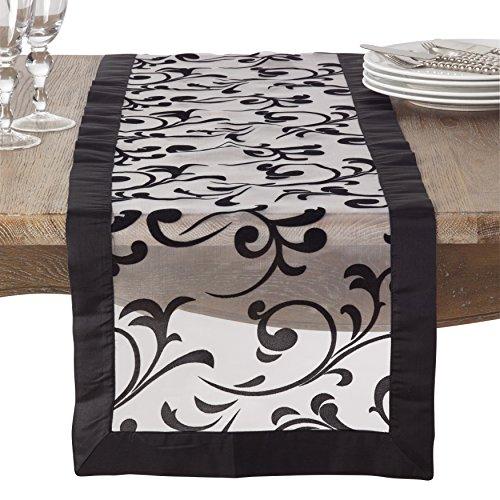 (SARO LIFESTYLE Flocked Design Satin Border Sheer Table Runner, 16