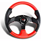320MM 6-Hole JDM Red/Black PVC Leather Steering Wheel