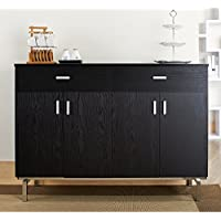 Storage Buffet Wine Rack Sideboard With 2 Drawers And 2 Cabinets, Adjustable Shelf, Durable Construction, Five Slot Removable Wine Holder, Perfect For Dining Room, Kitche, Black Finish + Expert Guide