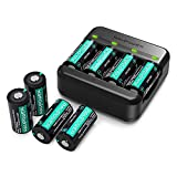 RCR123A Rechargeable Batteries RAVPower [8 Pack 3.7V 750mAh ] Protected Batteries with Battery Case and Arlo Battery Charger for Arlo VMC3030 VMK3200 VMS3330 3430 3530 Wireless Security Cameras