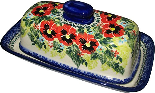 Polish Pottery Stick Butter Dish with Lid Eva's Collection Summer (8' Covered Butter Dish)
