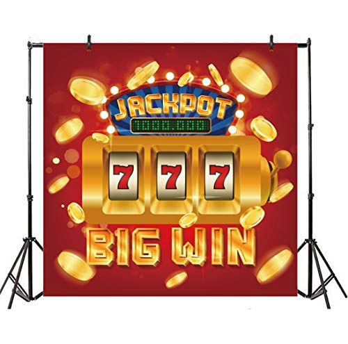 Leyiyi 5x5ft Casino Chips Photography Backdrop Las Vegas Nevada Gambling House Bargaining Chip Big Win Jackpot Gold Slot Machine Background Luxury Banner Number Photo Portrait Vinyl Studio Prop ()