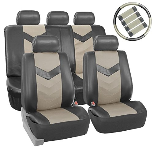 FH Group LIMITED TIME ONLY 30% off PU021115 Synthetic Leather Full Set Auto Seat Covers w. Steering Wheel Cover & Seat Belt Pads + FREE GIFT, Gray Gray Color (Free Down Seat)