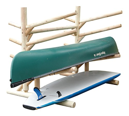 Log Kayak Rack Low 2 SUP + 2 Kayak Rack One-Sided with pegs Unfinished ()