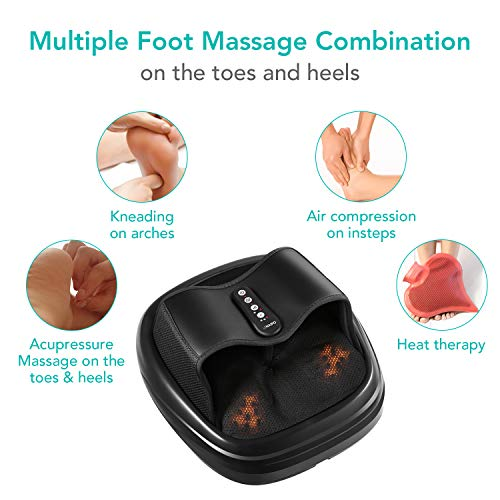 Naipo Foot Massager Shiatsu Acupressure Massage with Airbag Compression Heat Kneading for Feet Relaxation at Home and in Office