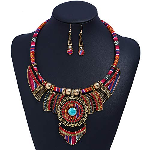 (Bohemian Necklace Earring Sets for Women - Chunky Enamel Multicolor Round Pendants Vintage Rhinestone Ethnic Necklace (red))