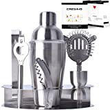 Cresimo Pro Stainless Steel Cocktail Bar Tool Set & Bonus Fold Out Cocktail Recipe Guide / Bartender Martini Shaker w/ Strainer Corkscrew, Bottle Opener, Jigger, Ice Tongs & Storage Rack