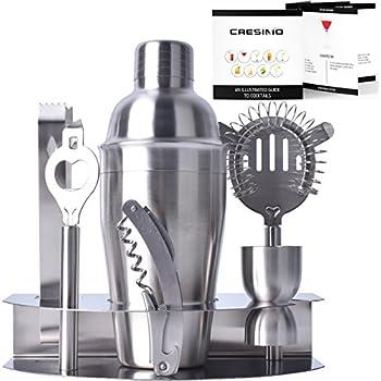 Cresimo Pro Stainless Steel Cocktail Bar Tool Set & Bonus Fold Out Cocktail Recipe Guide / Bartender Martini Shaker w/ Strainer Corkscrew, Bottle Opener, Jigger, Ice Tongs & Storage Rack
