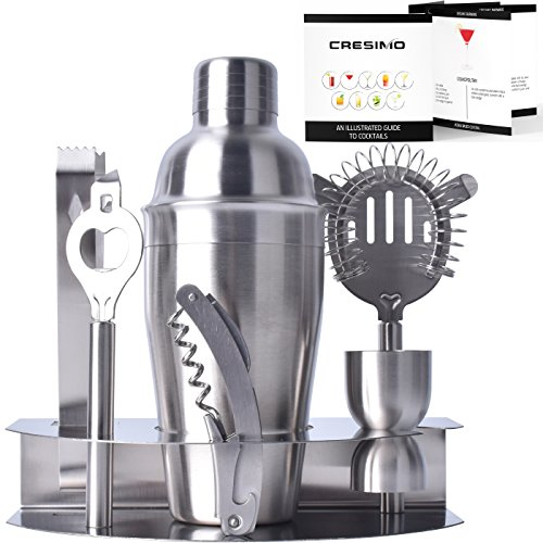 Cresimo Pro Stainless Steel Cocktail Bar Tool Set & Bonus Fold Out Cocktail Recipe Guide / Bartender Martini Shaker w/ Strainer Corkscrew, Bottle Opener, Jigger, Ice Tongs & Storage Rack Stainless Steel Martini Cocktail Shaker