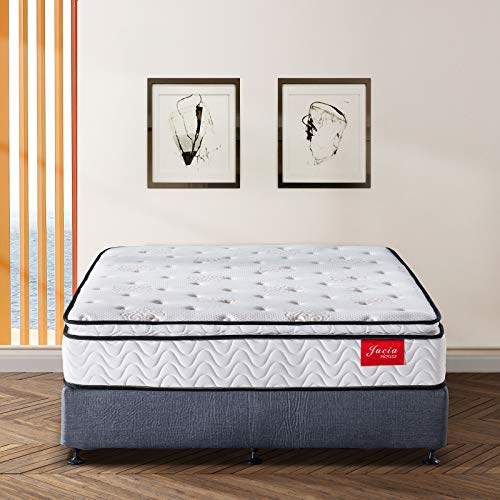 Jacia House 11.4 Inch Memory Foam Innerspring Independently Encased Coil Hybrid Mattress - Pillow Top Mattress - Bed in a Box -Queen ()
