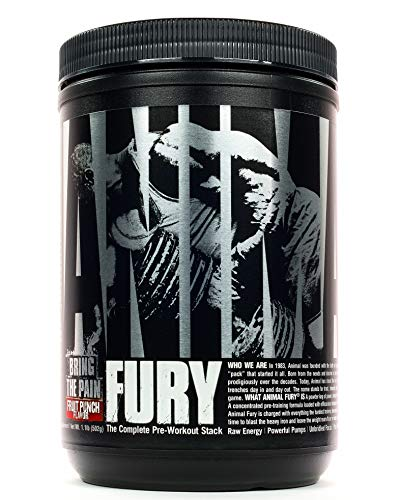 Animal Fury - Pre Workout Powder Supplement for Energy and Focus - 5g BCAA, 350mg Caffeine, Nitric Oxide, Without Creatine - Powerful Stimulant for Bodybuilders - Fruit Punch - 30 Servings