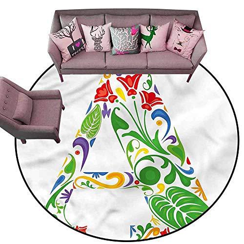 Home Bedroom Floor Mats Letter A,Vibrant Colors Flowers Diameter 66