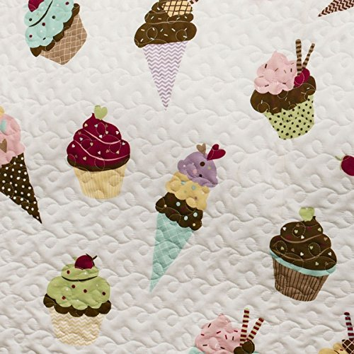 4 Piece Girls Sweet Ice Cream Cupcake Themed Quilt Full/Queen Set, All Over Donuts Cupcake Ice Cream Pattern Reversible Bedding, Pink Green Blue yellow, Gorgeous Fun Graphic Print, Solid Color