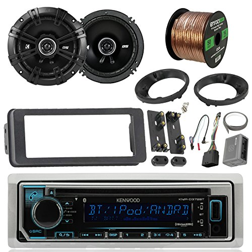 "Kenwood KMRD365BT Marine Stereo Receiver Bundle Combo With 2x Kicker 6.5"" Speakers W/ Install brackets, Dash Kit + Handle Bar Control For 1998-2013 Harley Motorcycles + Enrock 50Ft 16g Speaker Wires"