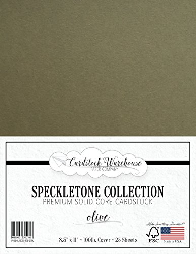 Olive Green SPECKLETONE Recycled Cardstock Paper - 8.5 x 11 inch - Premium 100 LB. Cover - 25 Sheets