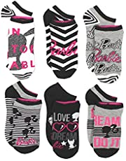 Barbie Doll Girls Womens 6 pack Socks (Little Kid/Big Kid/Teen/Adult)