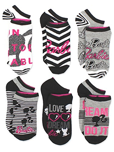 Barbie Girls Womens 6 pack Socks (9-11 / Shoe: 4-10, Black/White/Pink)