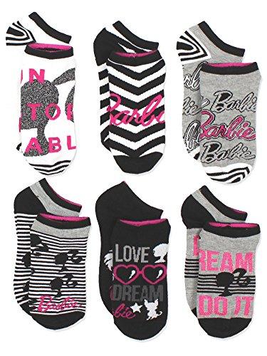 Barbie Girls Womens 6 pack Socks (9-11 / Shoe: 4-10, Black/White/Pink) -