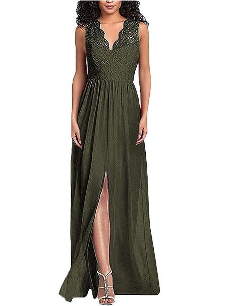 84f337feb9cba Danysu Women's V Neck Lace Bridesmaid Dresses Long Evening Wedding ...