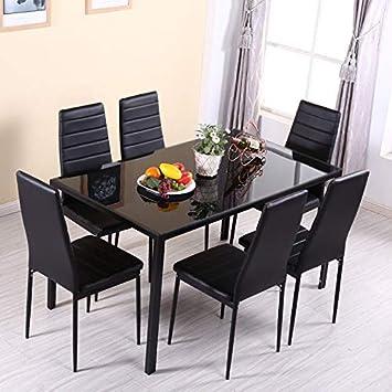 Juego de 7 sillas de Comedor de 7 Piezas de Mesa templada para el hogar, la Oficina, Muebles de Cristal o la Oficina en casa: Amazon.es: Electrónica