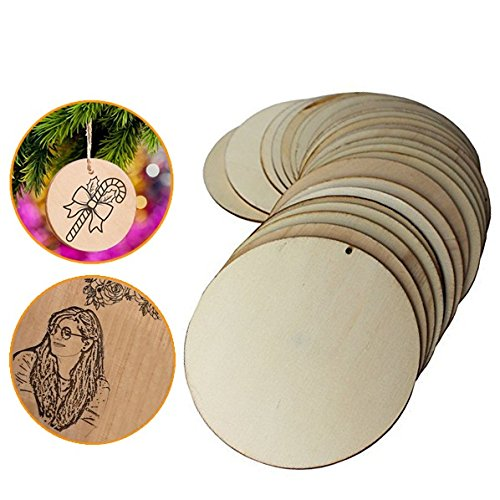 50 Pieces Natural Wooden Circles – 10 cm Unfinished Wooden Slices with Holes – Craft Wood Kit & Wooden Tags – Round Disc Wood Cutouts for Hanging Decorations, Painting, Birthday (Wooden Craft Supplies)