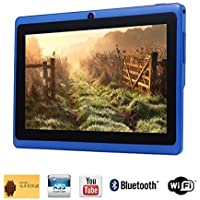 Tagital® 7 Quad Core Android 4.4 KitKat Tablet PC, HD Screen 1024x600, 8GB, Dual Camera, Netflix, Skype, 3D Game Supported (Blue)
