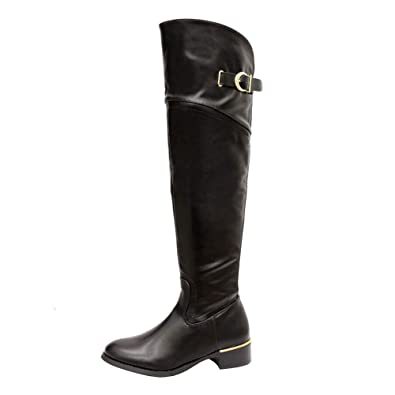 ca602fc9a8b432 LADIES WOMENS OVER THE KNEE BOOT WIDE CALF FIT ELASTICATED FLAT HIGH BOOTS  SIZE: Amazon.co.uk: Shoes & Bags