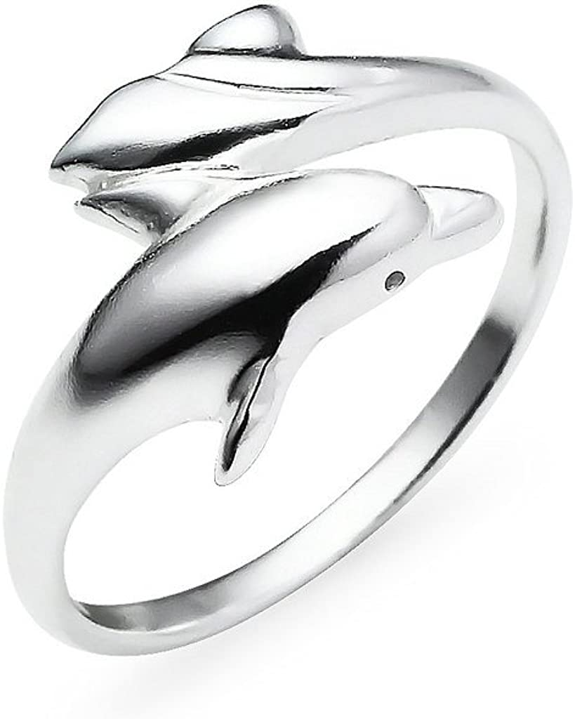 Dolphins Ring in Sterling Silver Ring Size Adjustable open band ring Beach ocean inspired jewelry