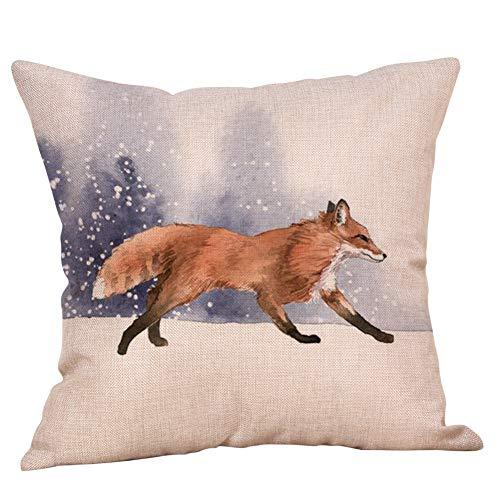 TOPBIGGER Fall Decor Pillow Covers, Children Series Cute Cartoon Animal Cotton Linen Decorative Throw Pillow Case…