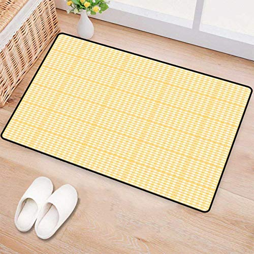 - Vintage Yellow,Bath Mat,Gingham Pattern with Bicolor Checkered Squares with Heart Motifs,Door Mat Indoors,Mustard and White 24