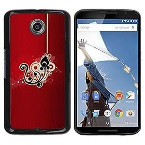 Be Good Phone Accessory // Dura Cáscara cubierta Protectora Caso Carcasa Funda de Protección para Motorola NEXUS 6 / X / Moto X Pro // Black Drawing Pattern Floral