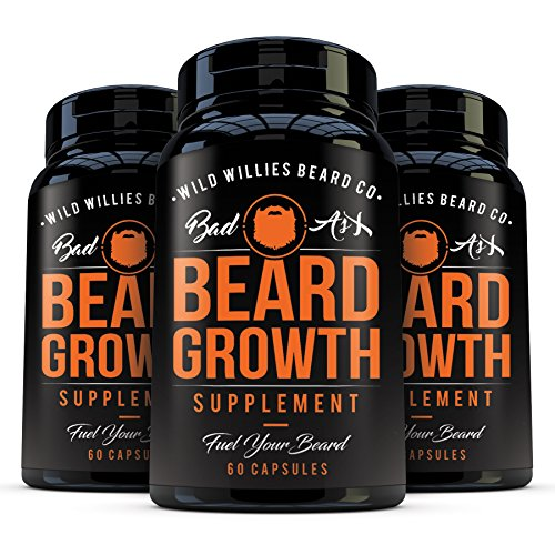 Beard Growth Vitamins for Men by Wild Willies 3Pack - Naturally Faster Hair Growth - 60 Capsules with Biotin - Grow a Thicker, Fuller Beard and Mustache Today