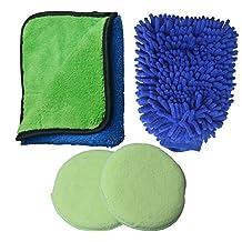 Sinland Microfiber Car Washing Kit - Car Wash Mitt, Super Absorbent Microfiber Drying / Polishing Towel, 2 Car Waxing Sponge