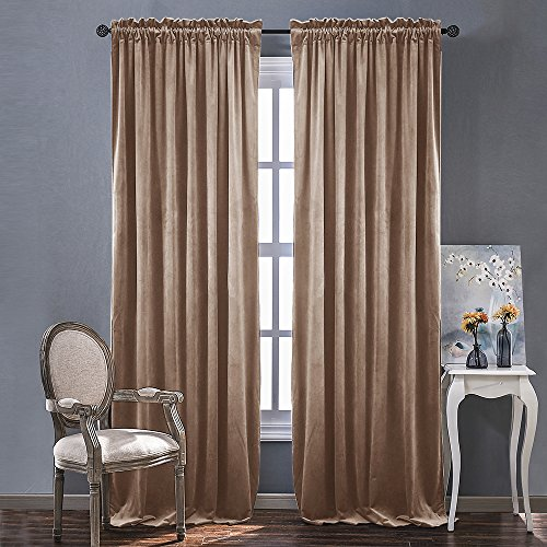 Room Darkening Velvet Curtain Panels - Rod Pocket Classic Panels in Almond Cream for Summer, Autumn & Winter by NICETOWN (2 Panels, 96