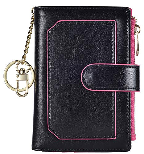 - Womens Wallets RFID Small Compact Bifold Leather Card Holder Zip Pocket Keychain (Black/Rose)