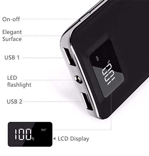 Tundras Power Bank Portable 20,000mAh High Speed Digital Ultra High Capacity Fast Charg 3.4A 2-Port USB +Led Flashlight External Battery Backup, for ...