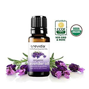 Trevida USDA Certified Organic Lavender Essential Oil | 15 ml | Bottled in USA | 100 % Pure Undiluted Organic Oil | For Improved Sleep, Reduce Stress and Anxiety, Acne, Aromatherapy, & More!