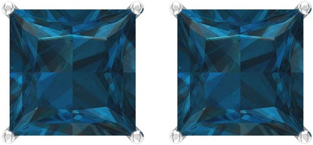 Pendiente con topacio azul de 6 quilates, certificado princesa corte de piedra preciosa, solitario, pendiente de aniversario para ella, tornillo hacia atrás