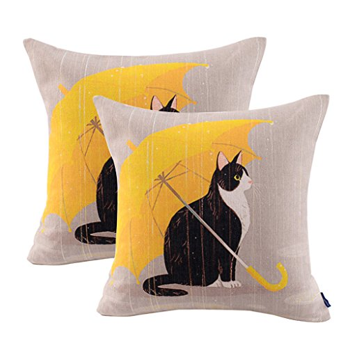 Pack of 2 JES&MEDIS Cat Cotton Linen Decorative Cushion Cover Pillow - Cat Geometric