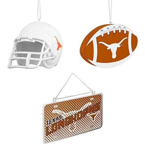 NCAA Texas Longhorns ABS Helmet Ornament Foam Christmas Ball Metal License Plate Bundle 3 Pack By Forever Collectibles (Ncaa Helmet Tree Ornament)