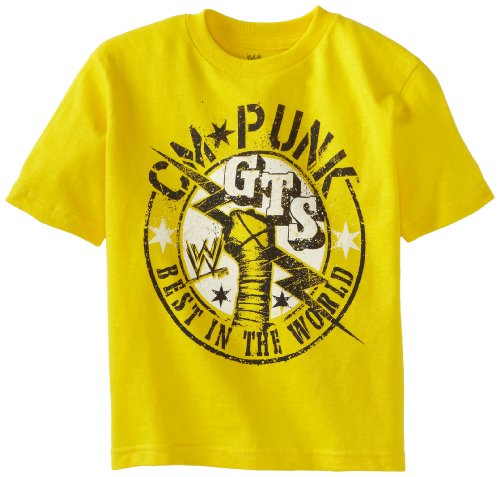 WWE Little Boys' CM Punk T-Shirt, Yellow, 7 by WWE