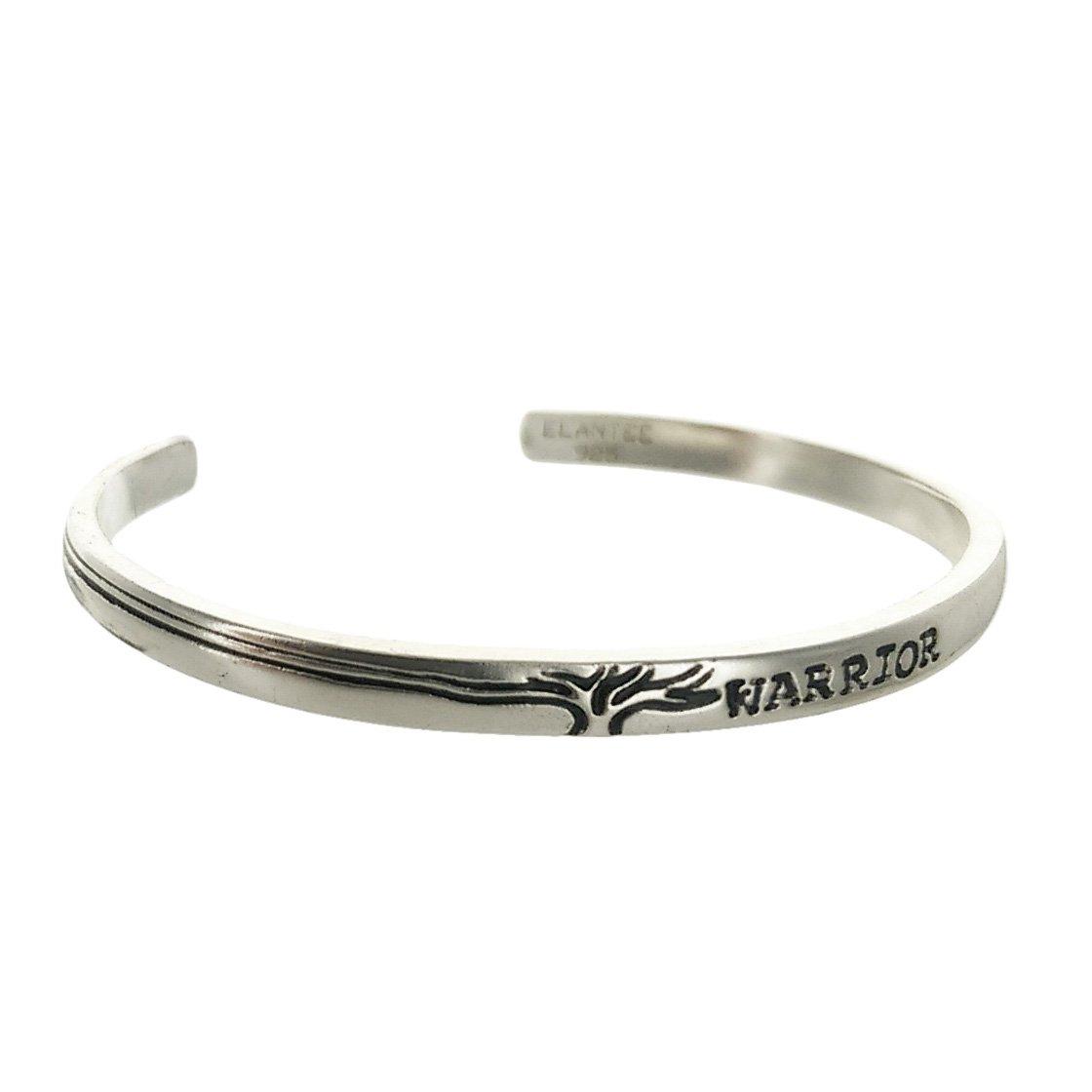 Sterling Silver Tree Warrior I Am Strong Cuff Bracelet 5oz 2.5'' dia