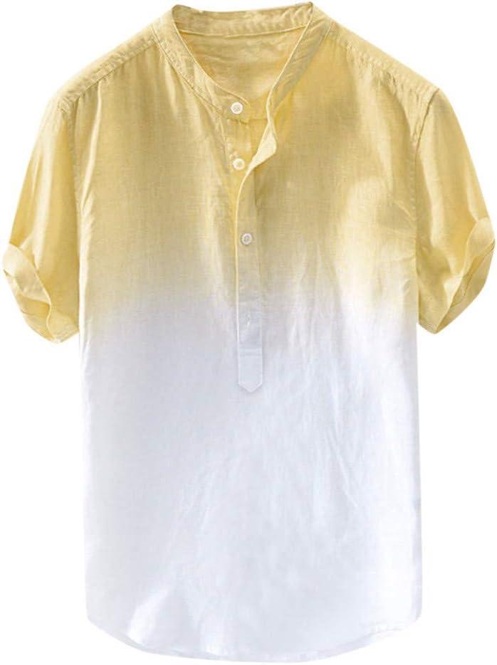 ZODOF Camisa Hawaiana con Estampado de Lino y algodón de Manga Corta étnica para Hombre Moda Suelta Blusa con Cuello Vuelto de Playa Simple Summer Street Tops Camiseta