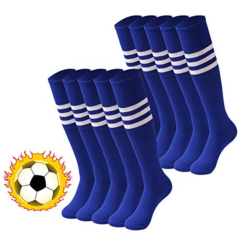 - saounisi Women Squad Socks , 10 Pairs Knee High White Stripe Football Soccer Team Cheerleading Tube Socks Size 9-13 Navy